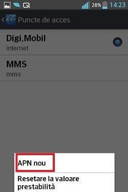 Pasul 5 pentru configurarea setarilor in reteaua digi mobil