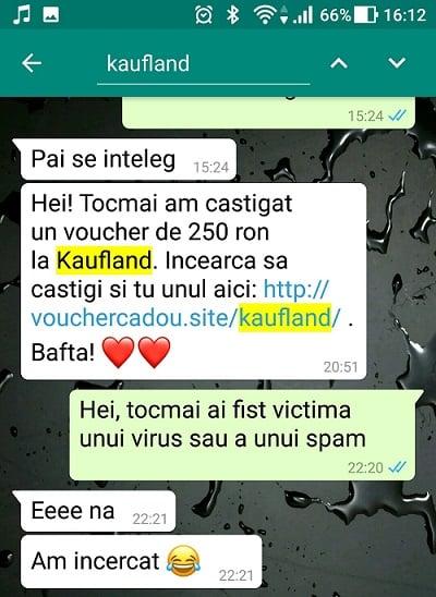Phishing kaufland pe whatsapp