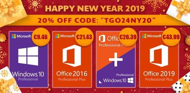 Promotie software pentru noul an 2019 Windows 10 Pro $11.19, Office 2016 Pro $25.34