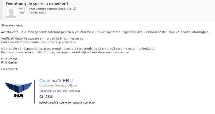 Tentativa phishing malware in numele Fan Courier1