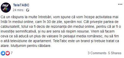 Tele7ABC va emite din nou1