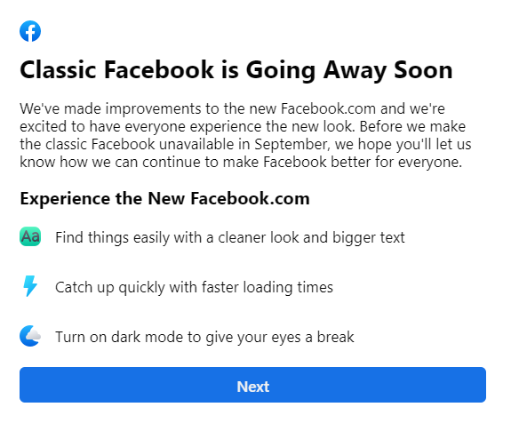 Facebook inchide din septembrie interfata clasica